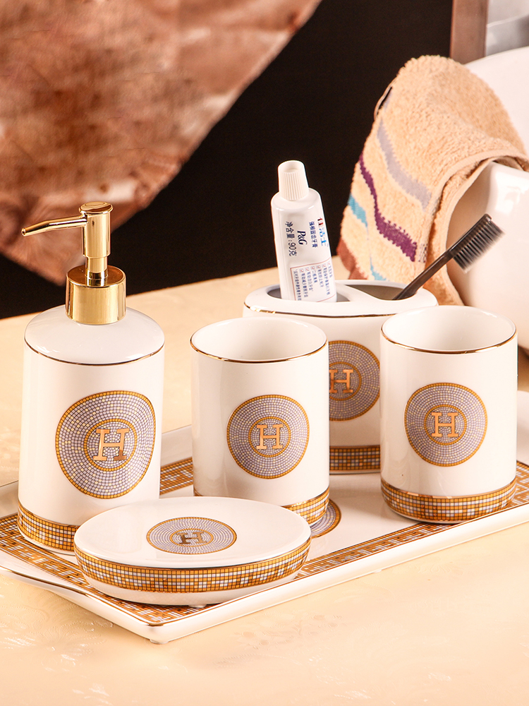 Bathroom Accessories Set Ceramic Soap Dispenser Toothbrush Holder Soap Dish Gargle Cup With Tray 5/6 Pieces Set Wedding Gifts