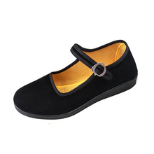 New old Beijing cloth shoes women classic traditional flat shoes wear black non-slip comfortable dance leisure round head shoe old beijing cloth shoes in the new baotou embroidered to raise the national wind leisure women shoes cool slippers home