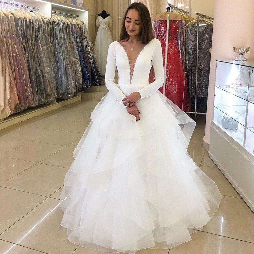 Eightree Wedding Dresses 2020 Deep V Neck Long Sleeve Bride Dress Ruffles Beads Bridal Gowns Tiered Vestidos De Novia Plus Size