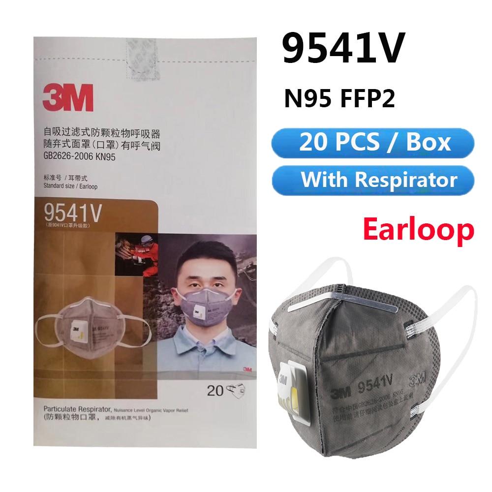 Wholesale Antivirus Masks 3M N95 FFP2 FFP3 9541V 9542V Active Carbon Respirator Valve Safety Protective Anti-PM 2.5 Sanitary