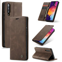 Фото - For Samsung A50 A 50 Cases Magnetic Flip Leather Case Cover Wallet Card Slots Design Business Vintage Book For Galaxy A50 card slots wallet case flip cover pu leather for samsung galaxy a3 a300