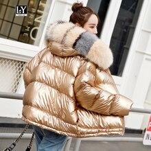 Ly Varey Lin зимняя куртка женское свободное пуховое пальто Двусторонняя одежда белая парка на утином пуху большой воротник из искусственного меха Глянцевая верхняя одежда