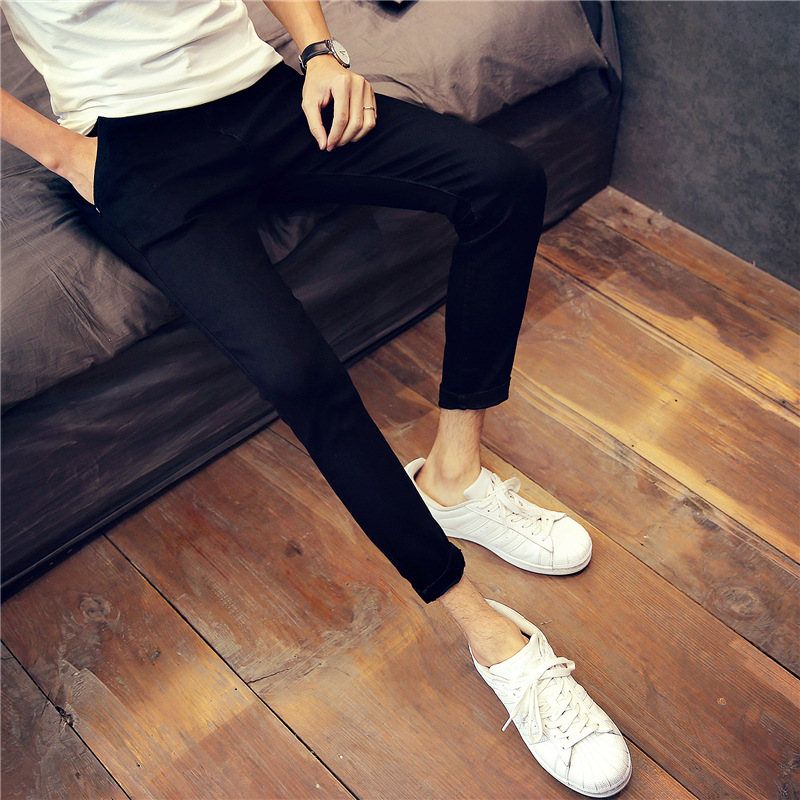 Teenager Tight-Fit Capri Jeans Men Slim Women's Retro Summer New Products Students Black And White With Pattern Skinny Pants Men