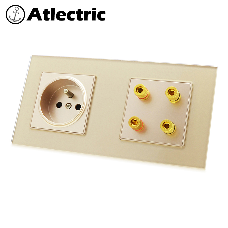 Atlectric FR Standard Plug Socket Sound Speaker Socket Double Socket Wall Power Electrical Outlet Glass Panel 3 Colors