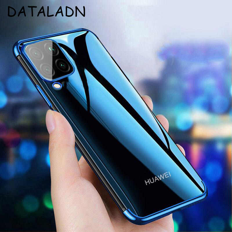 Voor Huawei P40 Lite Case Cover Luxe Transparante Plating Tpu Soft Silicone Cover Voor HuaweiP40Lite P40 Lite Telefoon Coque