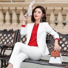High quality ladies business white suit set Autumn casual lo