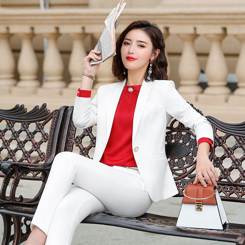 High Quality Ladies Business White Suit Set Autumn Casual Long Sleeve One Button Blazer Female Pants Suit Office Jacket S-4XL