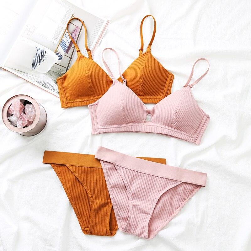 Munllure Comfortable Thin Thread Cotton Bra Thin Hollow Girl Sexy Underwire Underwear women bra setBra & Brief Sets   -