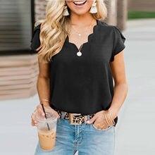 Camiseta de manga corta con cuello en V para mujer, top de Color liso