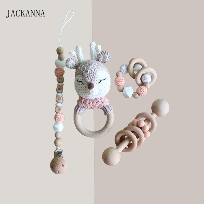 Personalise Baby Pacifier Clips Teething Bracelets Crochet Elk Soother Holder Chain Baby Rattle Teether Newborn Baby Dummy Clips