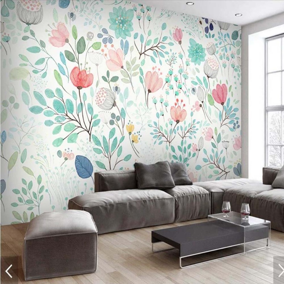 Watercolor 3d Floral Wallpaper Mural Fresh Small Flowers Wall
