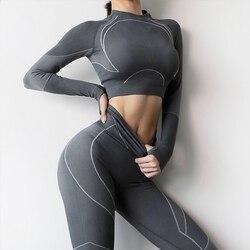 Conjunto deportivo sin costuras para mujer, ropa de gimnasia informal, de manga larga, Top corto de Fitness, Leggings de cintura alta, ropa deportiva, 2 uds.