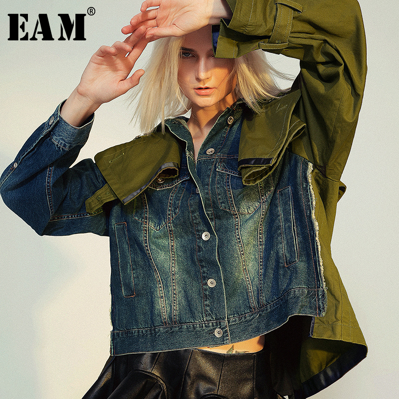 [EAM] Loose Fit Spliced Hit Color Short Denim Jacket New Lapel Long Sleeve Women Coat Fashion Tide Spring Autumn 2020 1B093