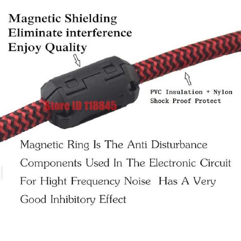 1/8 ''TRS 3.5mm mężczyzn do mężczyzna Nylon kabel Audio słuchawek Beats głośnik do MP3 MP4 iPhone iPod kabel samochodowy AUX 1m 2m 3m 5m