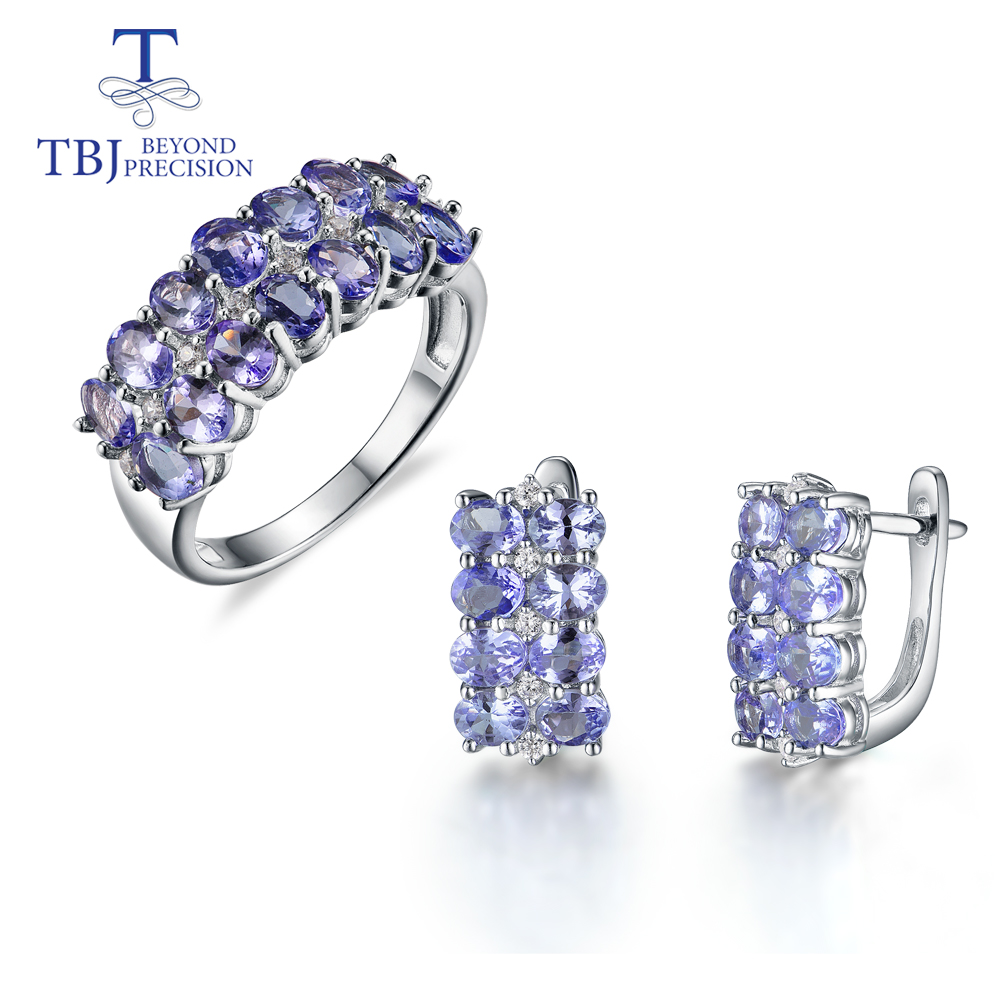 Natural Tanzanite Gemstone Jewelry Set 925 Sterling Silver Ring And Clasp Earrings Fine Jewelry For Girl Black Friday,Christmas