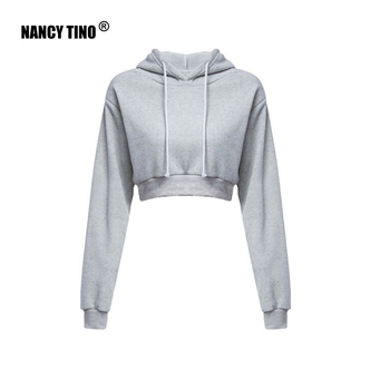 Ms. Sweatshirts Autumn Hooded Long Sleeve Hooded Pullovers Casual Drawstring Hoodie Pullovers Short Crop Top with Long Sleeves