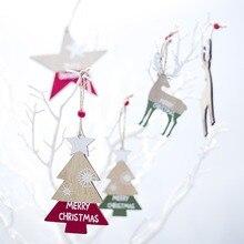 2 pcs Creative wooden craft letters snowman elk home decorations Christmas mini tree ornaments