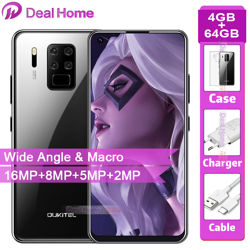 """OUKITEL C18 Pro 6.55"""" HD Android 9.0 4MB RAM 64GB ROM 16MP 4 Cameras Smartphone Octa Core 4G LTE 5V2A 4000mAh Mobile Phone"""