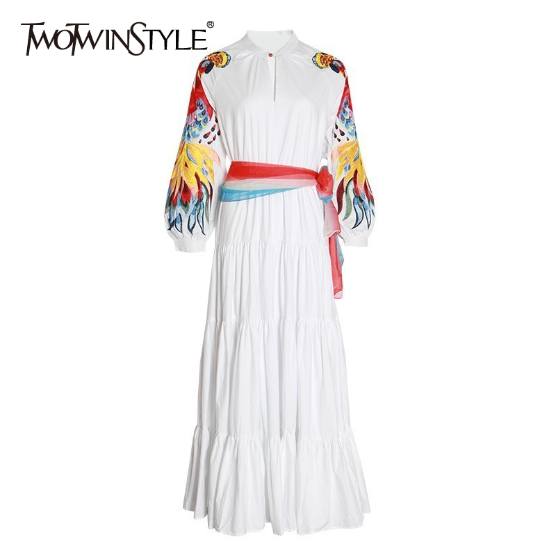 TWOTWINSTYLE Embroidery Dress For Women O Neck Lantern Long Sleeve High Waist Lace Up Dresses Female Large Size 2020 Fashion New