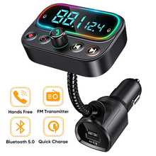 Bluetooth 5.0 Auto MP3 Muziekspeler Fm Modulator Zender Aux Adapter Draadloze Handsfree Pd Usb Charger U Disk Muziekspeler