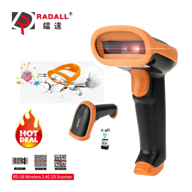 RADALL, беспроводной сканер штрих-кода, проводной сканер штрих-кода, автоматическое сканирование, портативный 1D/2D qr-код, считыватель для инвент...