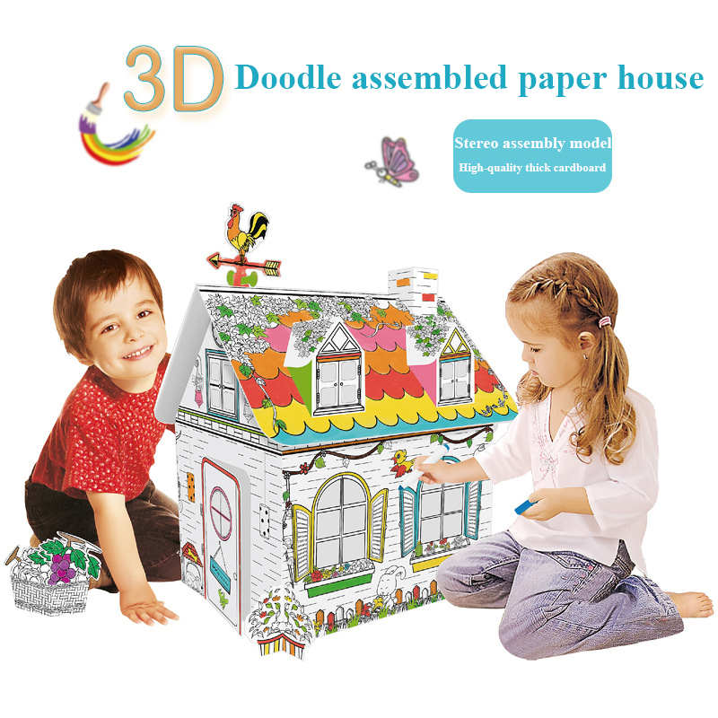 2020 New Child Drawing Toys Cardboard House Coloring Coloured Graffiti Creative Hand-painted Crafts Kids Early Education Toys