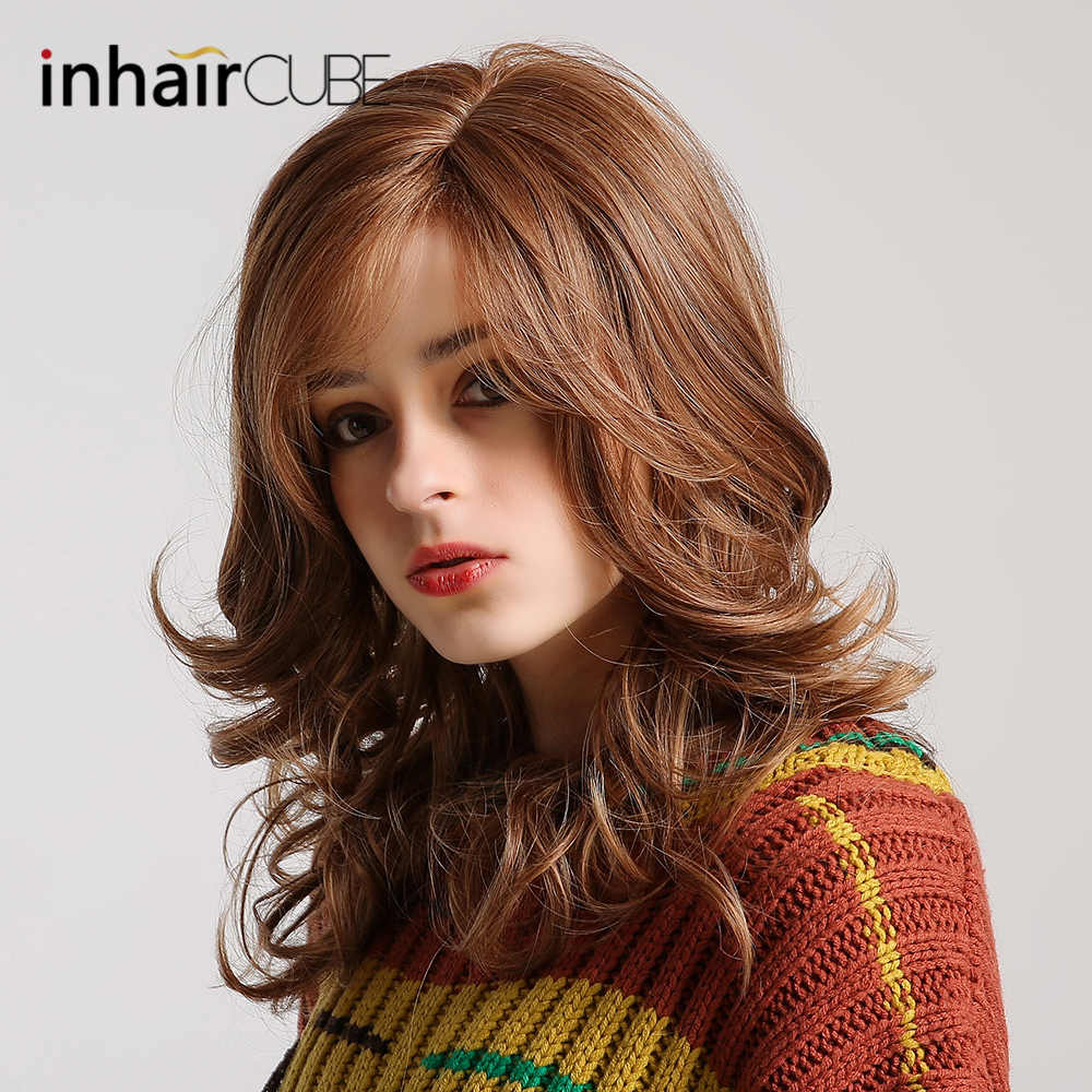 "Inhair Cube Long Wavy Natural Brown Cosplay Wigs 18"" Natural Women's Wig Costume Party Heat Resistant Synthetic Fake Hair pieces"