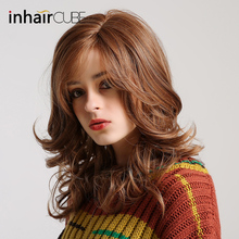 "Inhair Cube Long Wavy Natural Brown Cosplay Wigs 18"" Natural Womens Wig Costume Party Heat Resistant Synthetic Fake Hair pieces"