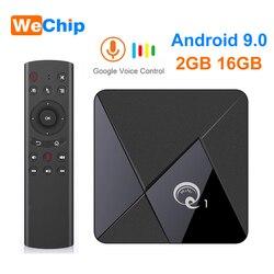 Smart Android 9.0 tv  pudełko Q1 Mini Rockchip RK3328 2GB 16 GB  odtwarzacz multimedialny 2.4 WiFi wsparcie głosowe pilot zdalnego Android tv zestaw pudełek Top Box