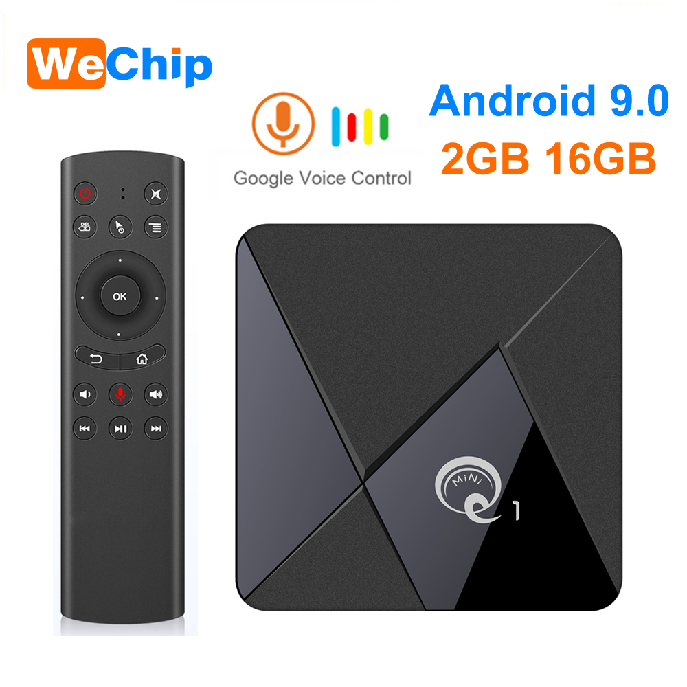 Smart Android 9,0 TV Box Q1 Mini Rockchip RK3328 2GB 16GB Media Player 2,4 WiFi Unterstützung Stimme Fernbedienung android TV Box Set Top Box