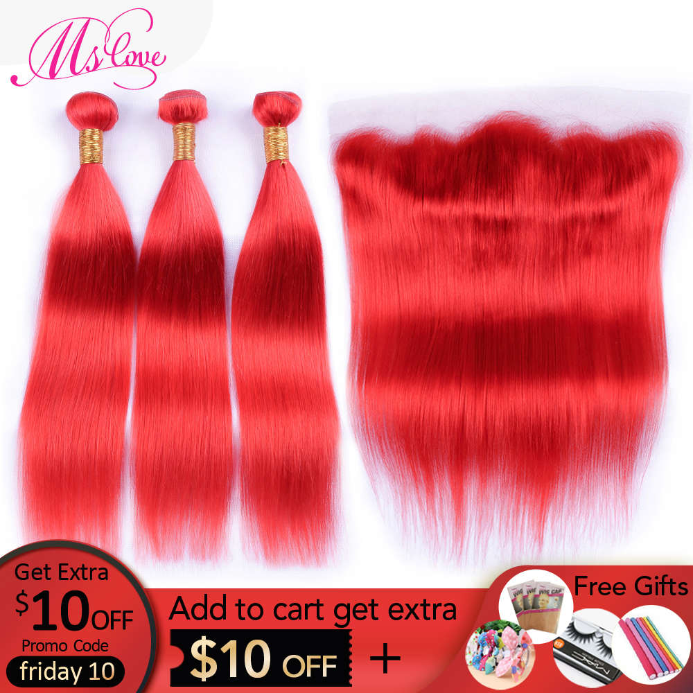 Ms Love Pre-Colored Red Bundles With Frontal Straight Peruvian Hair Bundles With Closure Remy Human Hair With Lace Frontal