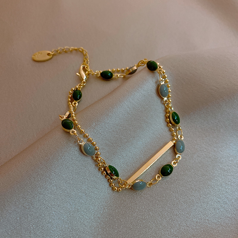 Korean hot fashion jewelry, exquisite dark green beads double-layer bracelet, elegant student girlfriends women's daily bracelet