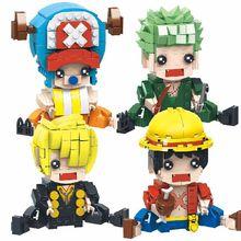 Super Hero Anime One Piece Naruto Mini Action Figures Diamond Building Block Assembly Model Educational Toys mini qute xizai amine huge cartoon one piece chopper arale stitch building blocks bricks action figures model educational toy