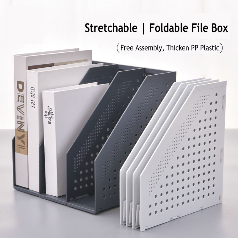 Creative Stretchable File Organizer Box Office Desk File Tray Foldable Magazine Holder Stand