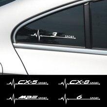 2 шт. кузова светоотражающие наклейки боковое окно украшение Наклейки для Mazda Axela Atenza CX-3 CX-5 CX-8 MAZDA скорость Demio MPS 3 6