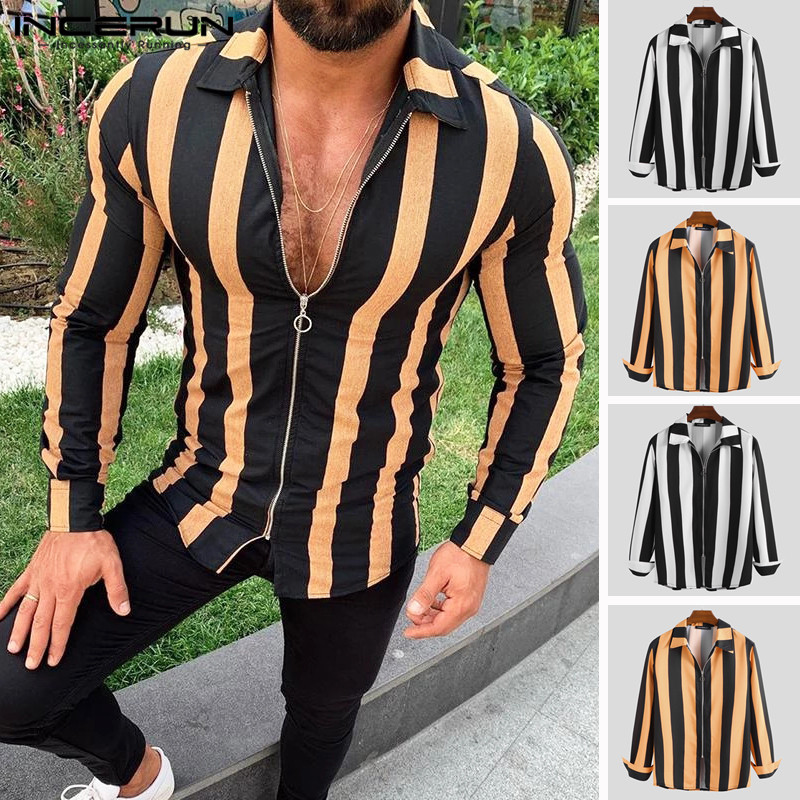 INCERUN 2020 Autumn Fashion Striped Shirts Men Long Sleeve Lapel Neck Streetwear Fitness Zippers Outerwear Chic Male Shirts 5XL