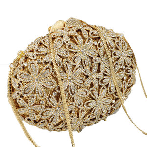 Image 5 - Boutique De FGG Socialite Hollow Out Women Flower Crystal Evening Bags Wedding Party Diamond Minaudiere Handbag Bridal Clutch