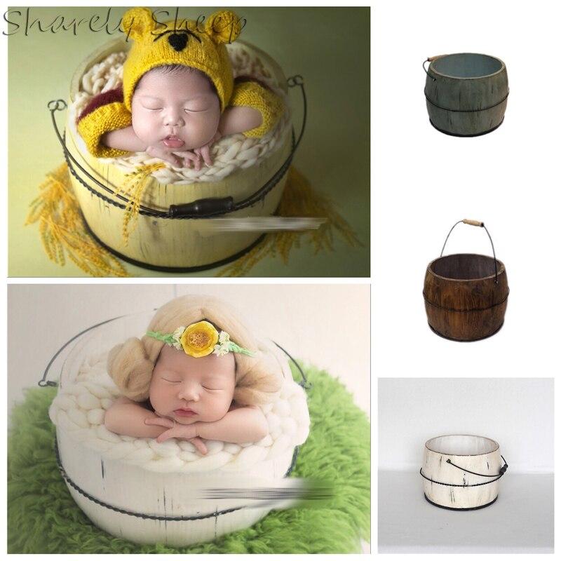 Fait à la main en bois rétro seau nouveau-né photographie accessoires bébé bébé Photoshoot Studio posant panier bebe fotografia accessoires