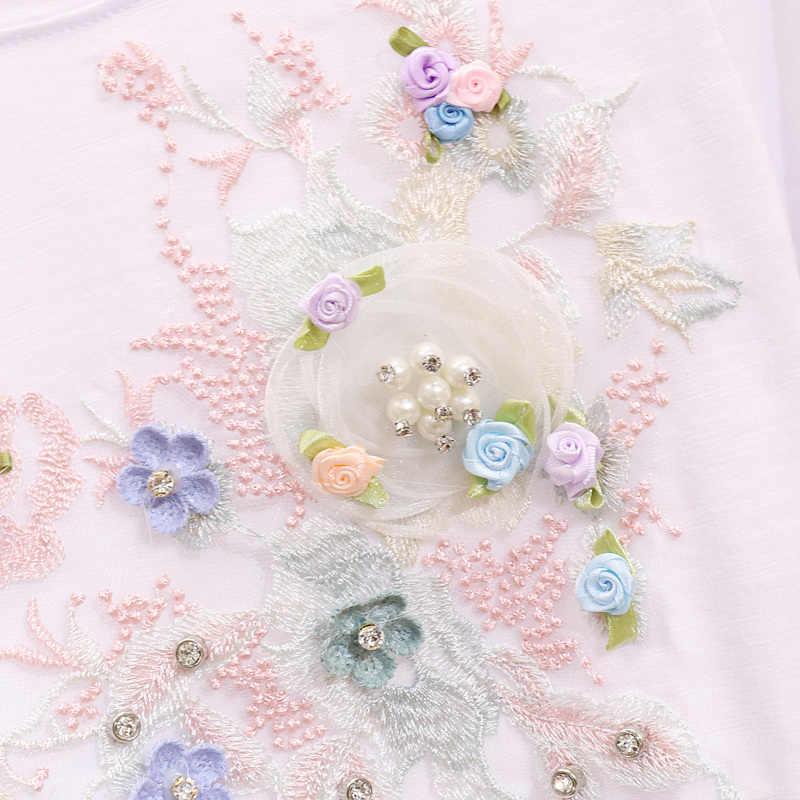 Summer Denim Skirt Sets Women Twopiece Suit New Diamond Embroidered Flower Short Sleeve T Shirt + Grinded Jean Skirt Students