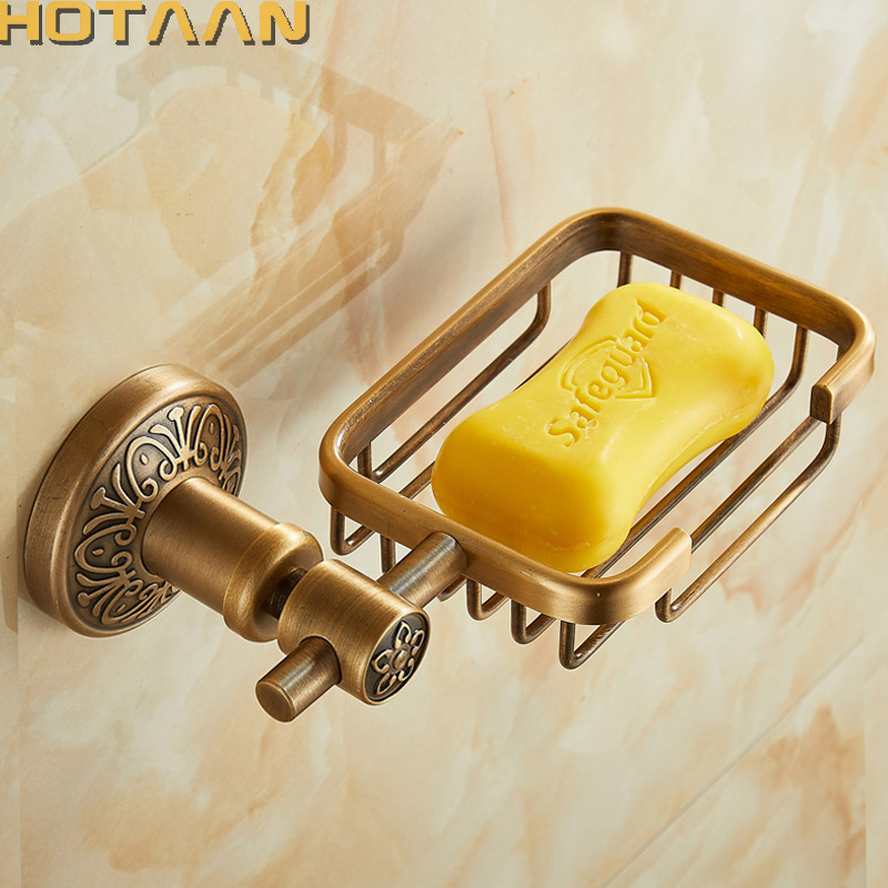 Solid Aluminium Wall Mounted Antique Brass Color Bathroom Soap Basket New Bath Soap Dish Holders Bathroom Products YT-14290