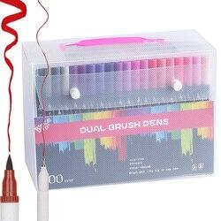 Набор профессиональных цветных кистей для надписей 24/36/48/72/100, художественные материалы для рисования с двойной головкой, принадлежности, фл...