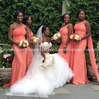 Eeqasn Elegant Coral Bridesmaid Dresses Mermaid Sleeveless Floor Length Backless Wedding Party Dress for Women Plus Size - discount item  25% OFF Wedding Party Dress