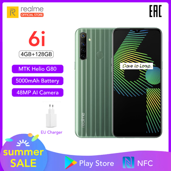 "Realme 6i 6 I Global Version Mobile Phone 4GB RAM 128GB ROM EU Plug Charger MTK Helio G80 5000mAh Dewdrop Display 6.5"" Cellphone"