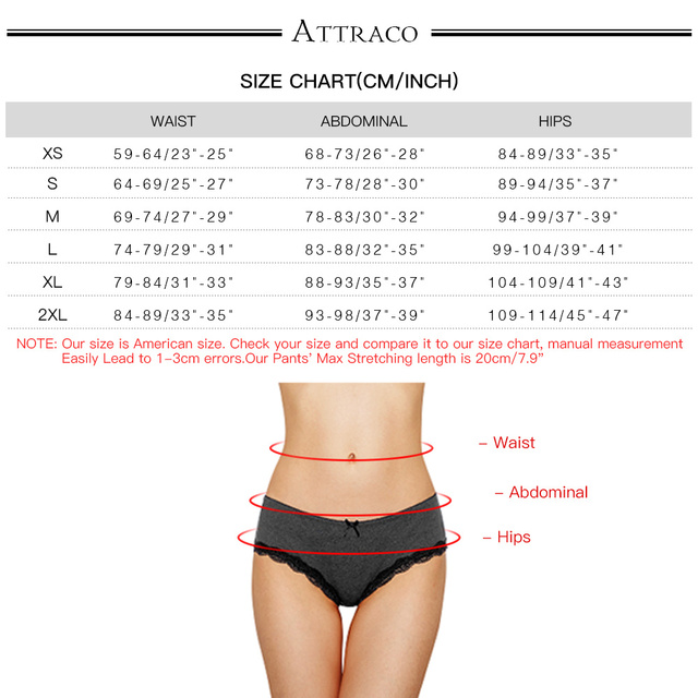 ATTRACO Women's Lace Underwear String Pantie Briefs Cotton 4 Pack Cueca Calcinha  Tanga Thong Lace Edge Cotton Crotch Tempting 6