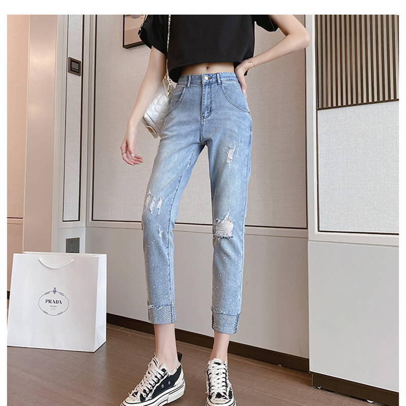 Spring 2020 new women's loose and thin high-waisted jeans shiny hot drill elastic hole cropped pants