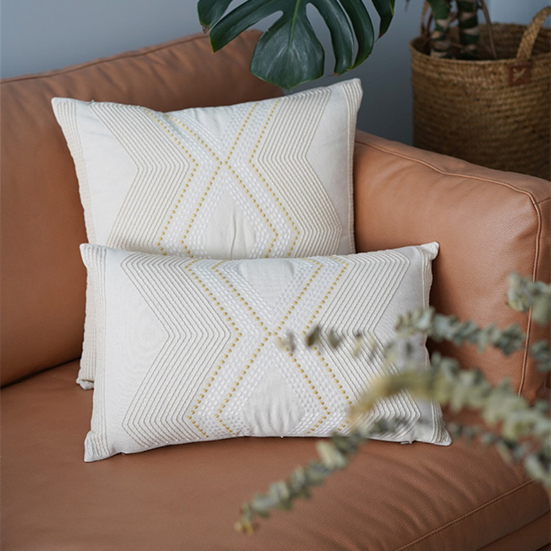 Beige Thread Embroidery Cushion Cover Home Decoration Nature Linen Cotton Geometric Pillow Cover 30x50cm 45x45cm Pillow Cushion Cover Aliexpress