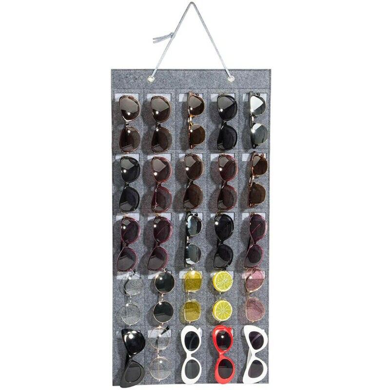 NEW Eyeglass Sunglasses Organizer Hanging Wall Glasses Holder Storage Display Pocket Mount Hanger On Wall