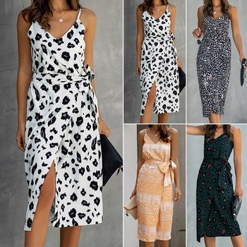 Summer Women Vintage Printed Dress Sexy Backless Long Casual Sundress Black White Dresses 2020 Fashion Summer Clothes For Women
