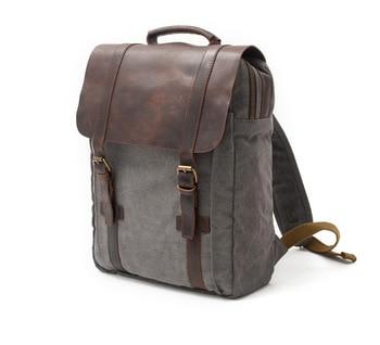 Leather Canvas men backpack School Laptop Bag Military Backpacks Women Rucksack Male  Knapsack Bagpack mochila