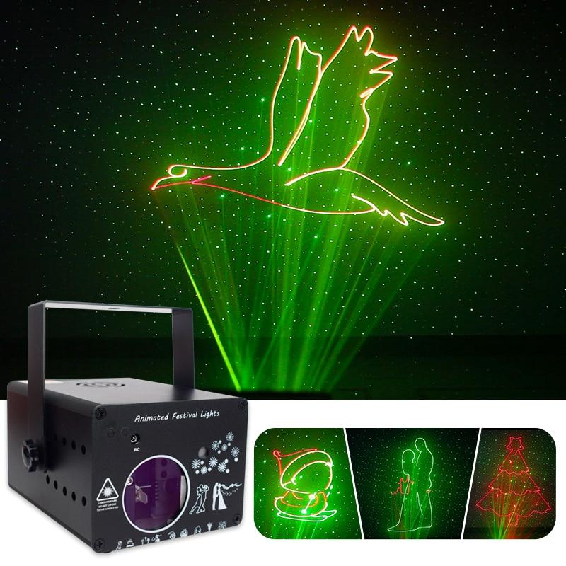 WUSTAR светодиодный анимационный лазерный прожектор голос Управление DJ диско этапа светильник RGB Красочная для KTV бар фестиваль вечерние тема ...